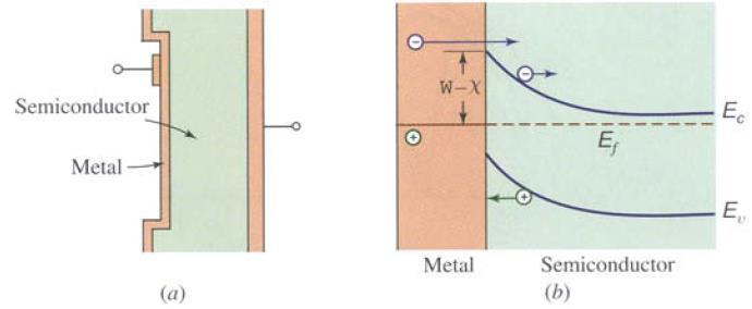 Schottky-Barrier Photodiodes Instead of a p layer, a thin semitransparent metallic film is used. Below shows (a) the structure and (b) energy band diagram of a Schottky barrier photodiodes.