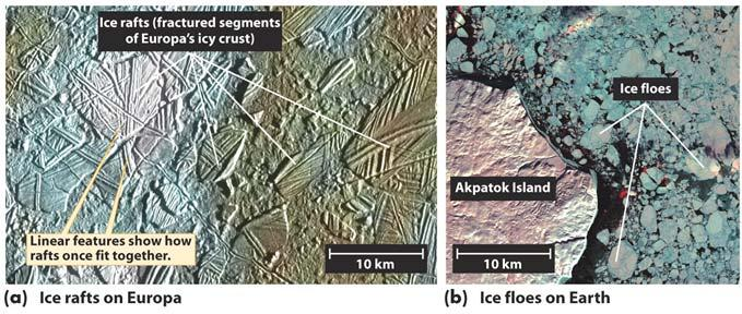 Cracks are probably caused by the tidal flexing of