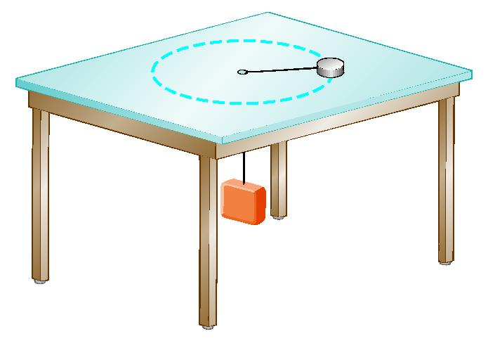 Centripetal Acceleration 25. An air puck of mass 0.25 kg is tied to a string and allowed to revolve in a circle of radius 1.0 m on a frictionless horizontal table.