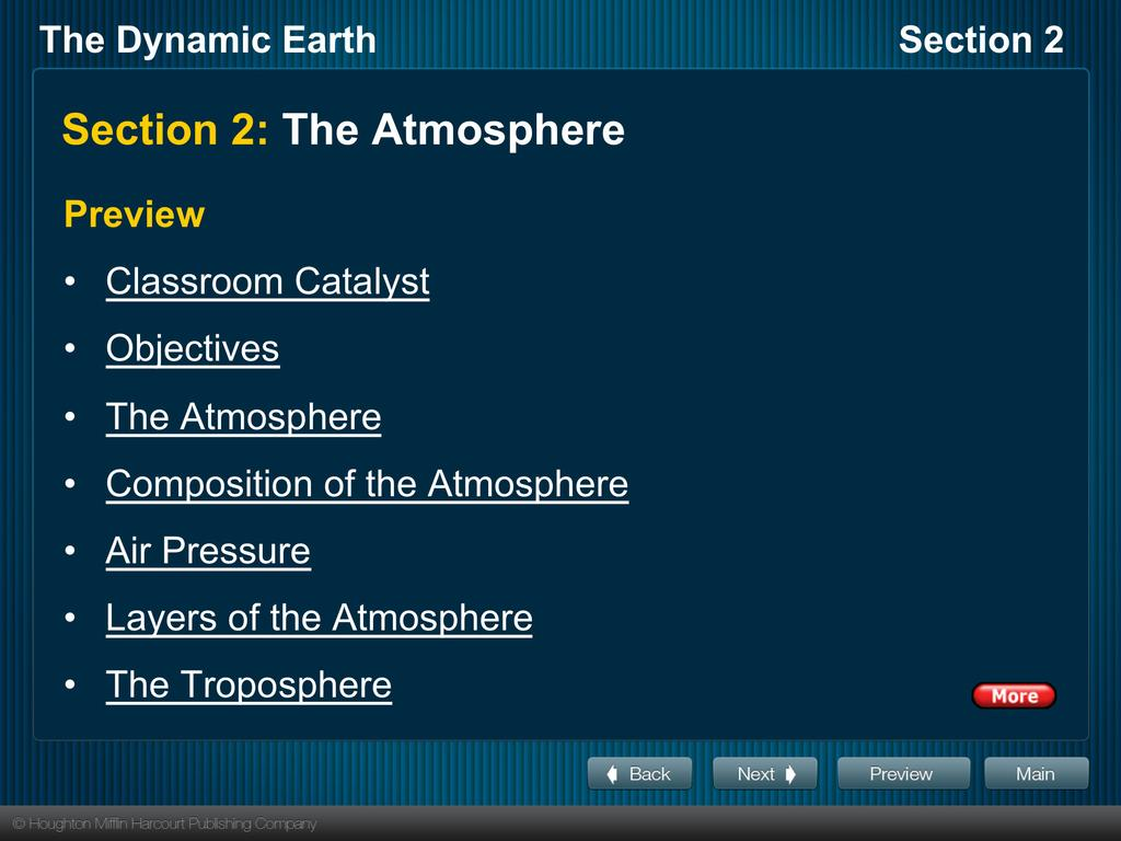 Section 2: The Atmosphere Preview Classroom Catalyst Objectives The Atmosphere
