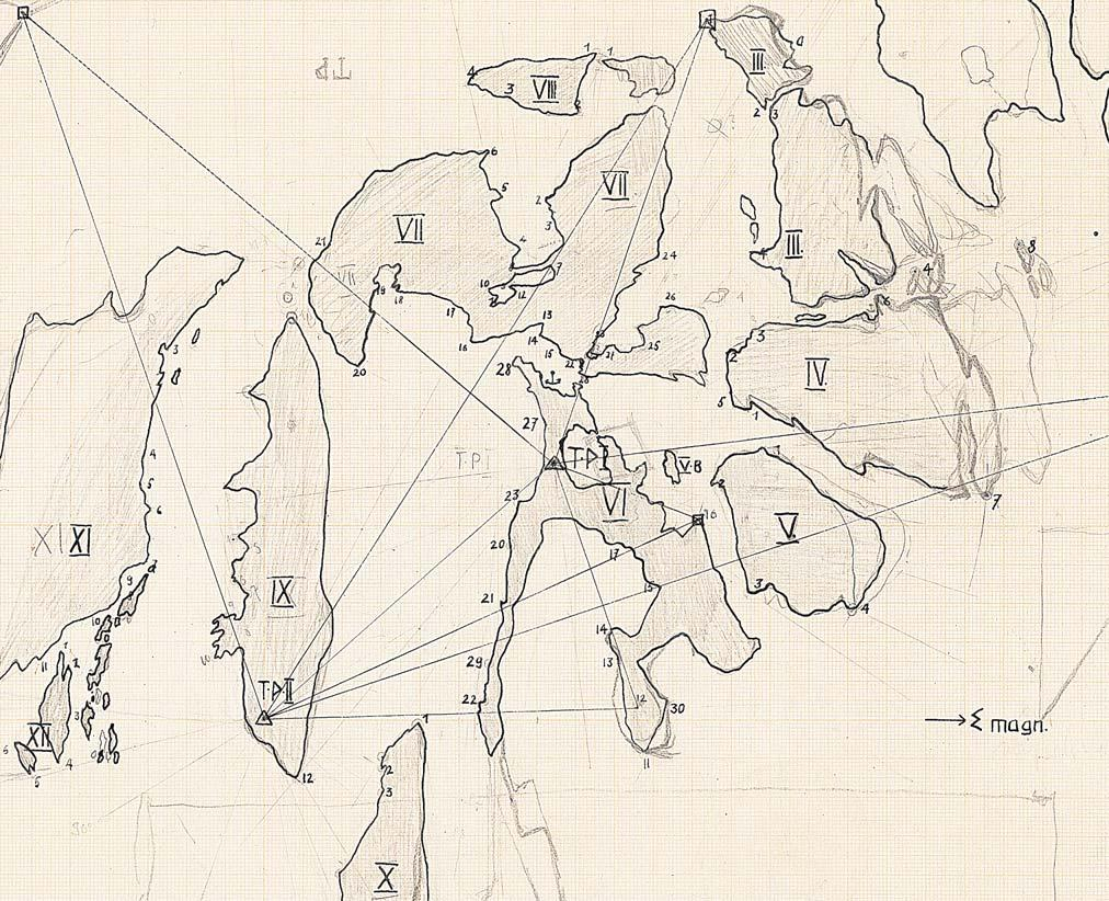 Fig. 34. Original survey of Bjørneøer, the island group south of the mouth of Nordvestfjord, drawn by Helge Backlund and Eduard Wenk in 1934.
