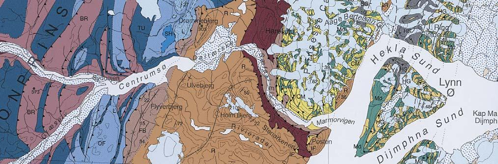 Fig. 24. Segment of the 1:500 000 geological map Lambert Land published by the Geological Survey of Denmark and Greenland (GEUS) after the 1993 1995 mapping project ( Jepsen 2000).