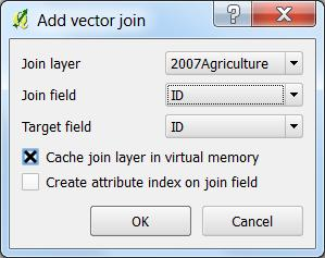In the Add vector join box: o join layer o join field