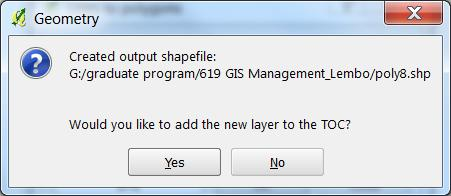5. Yes to add shapefile to