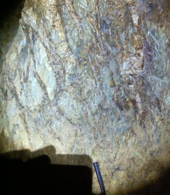 Gold at RTS is hosted by quartz-carbonate veins that cross-cut the host sandstone and siltstone sequence.