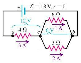 Solving esistor Networks To find the current through the resistors of the parallel section of the initial circuit, we use the fact