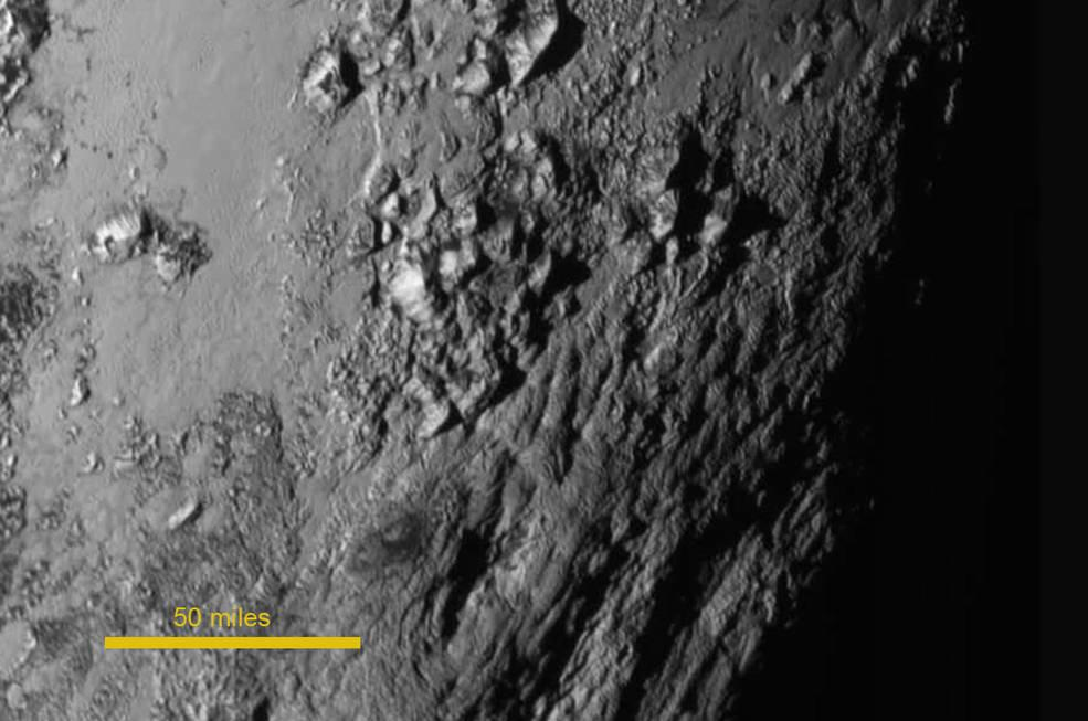 Pluto s Icy Mountains New images show near the equator there are young mountains rising about 11,000 feet They formed no more than 100 million years ago, young compared to