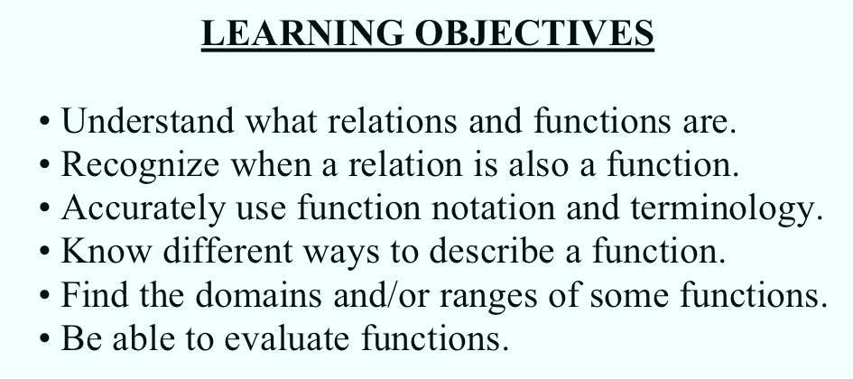 SECTION 1.1: FUNCTIONS (Section 1.1: Functions) 1.1.1 LEARNING OBJECTIVES Understand what relations and functions are. Recognize when a relation is also a function.