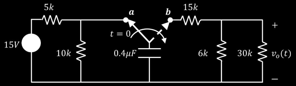 Find the initial energy stored in the capacitor at tt = 0. c. Find the time constant of the circuit after switching to position (bb).