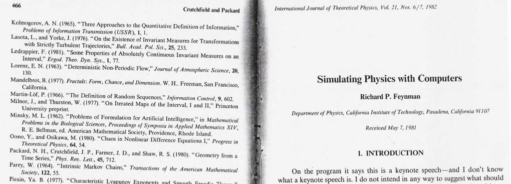 History Of Intrinsic Computing Nature already computes Information: H(Pr(X)) (Shannon 94s) h µ In