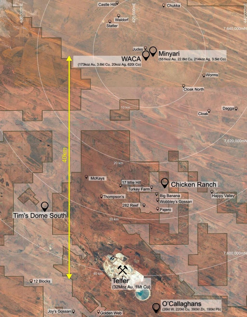 Tim s Dome, situated 35km southwest of the Minyari-WACA deposits and only 12km from the Telfer Mine, has significant gold mineralisation from near surface extending over a strike length in excess of