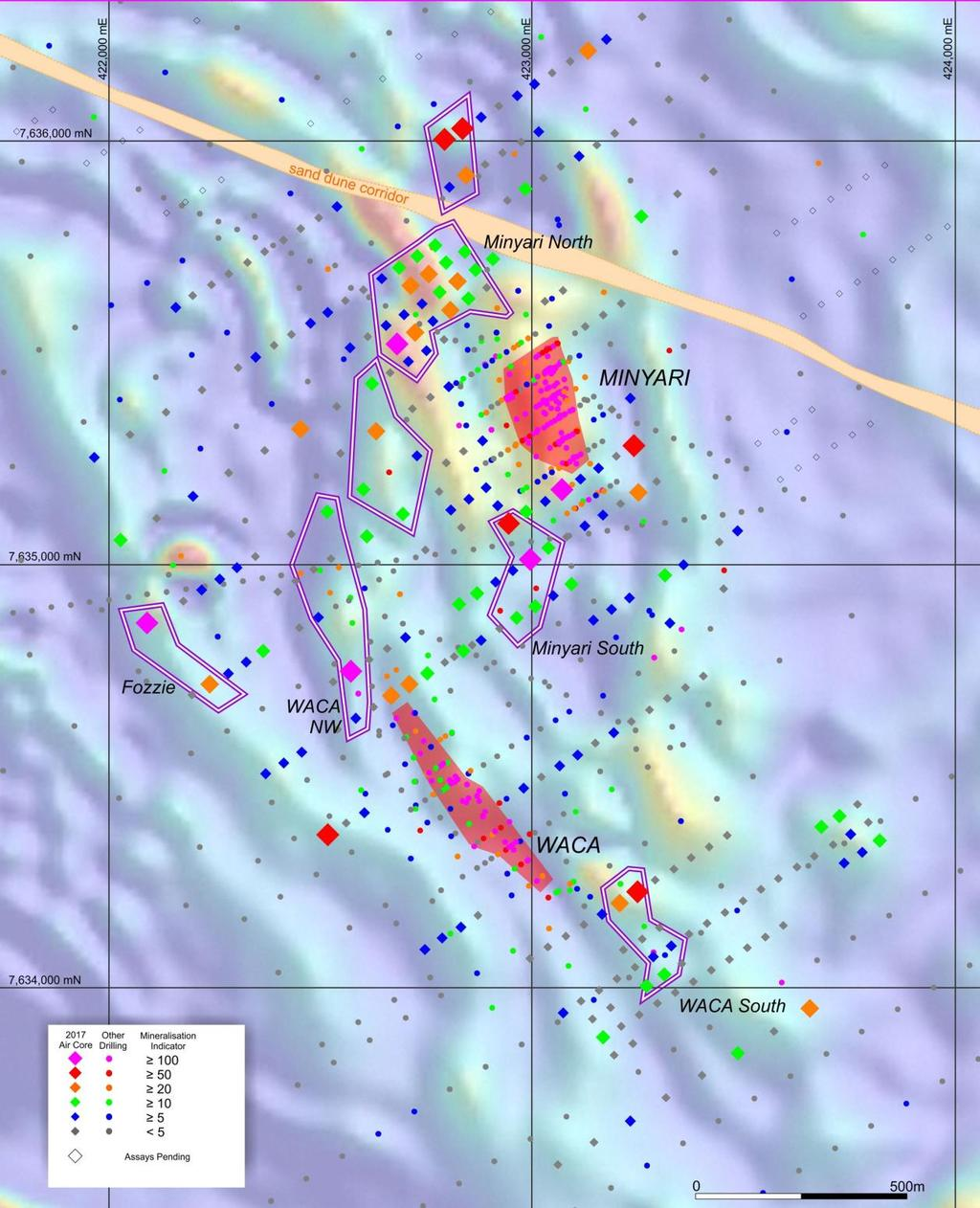 Figure 3: Plan view of the southern region of the Minyari Dome showing prospect, deposit and target locations, and drill holes annotated by Mineralisation Indicator (i.e. Au ppm x 100 + Ag ppm x 10 + Bi ppm + Cu ppm/100 + Co ppm/100 + As ppm/100) maximum value within 60m of surface.