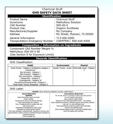 3006 Sections Information in a safety data sheet is divided into sections: Identification Composition/information on ingredients Hazard(s) identification First-aid measures Fire-fighting measures