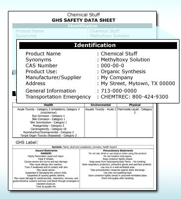 3007 Section 1: Identification The Identification section contains general information such as the: Product identifier used on the label Name and address of the product