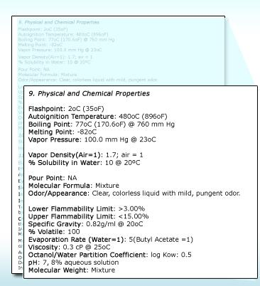 3015 Section 9: Physical and Chemical Properties This section lists physical properties of the product.