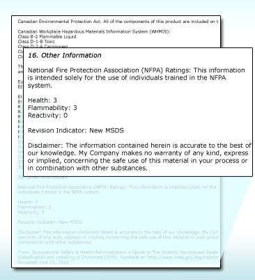 3019 Section 16: Other Information The date of preparation of the safety data
