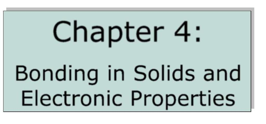 Chapter 4: Bonding in Solids and Electronic Properties Free electron theory Consider free electrons in a metal an electron gas. regards a metal as a box in which electrons are free to move.