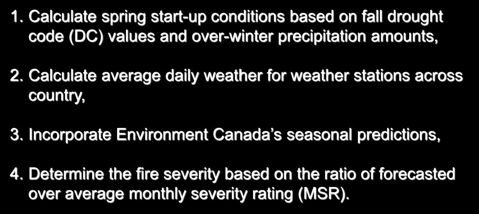 Methodology 1. Calculate spring start-up conditions based on fall drought code (DC) values and over-winter precipitation amounts, 2.