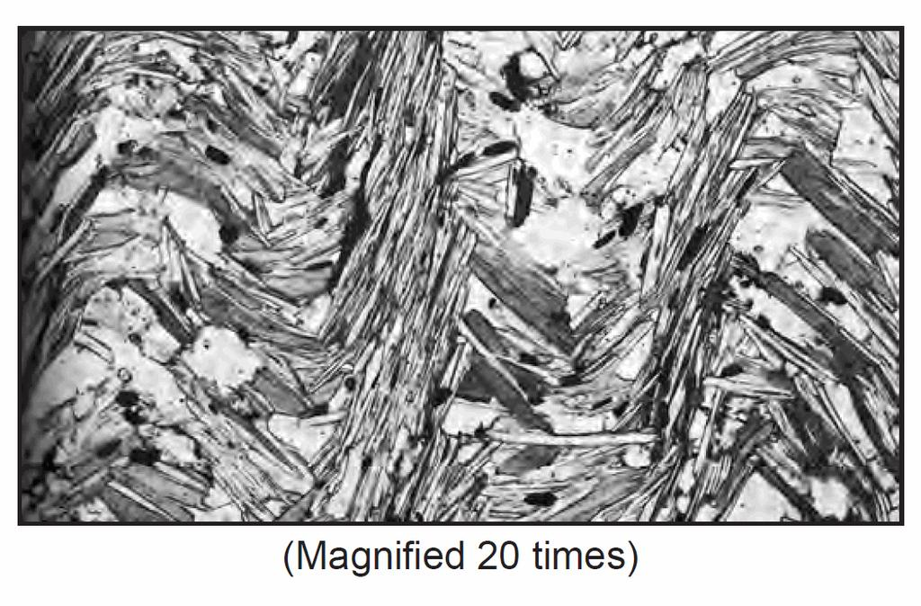 30. The photograph below shows the texture of a rock composed of various minerals as seen through a microscope. Which rock is most likely shown above?