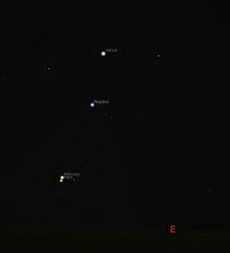 Sep 16 Mercury/Mars: only 3.3' separation, brightness: -0.9 and +1.