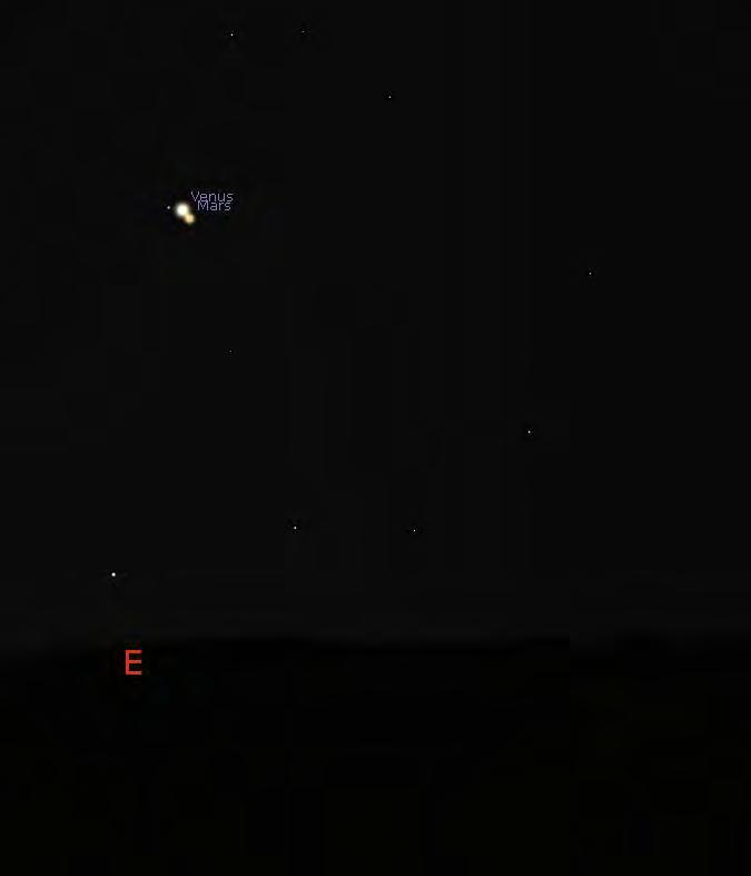 Oct 5 Venus/Mars: only 12.3' separation, brightness: -3.9 and +1.