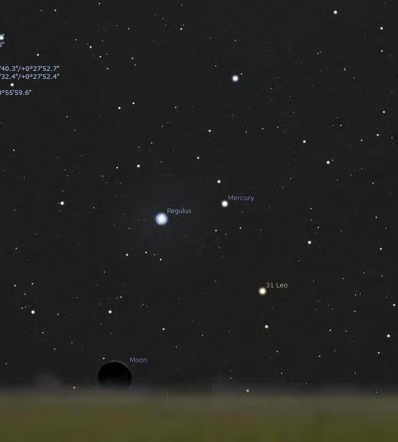 Jul 25 Mercury/Regulus,: only 57.0' separation, brightness: +0.2 and +1.