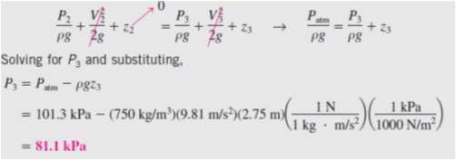 (b) The pressure at point 3 can be determined by writing the Bernoulli equation between