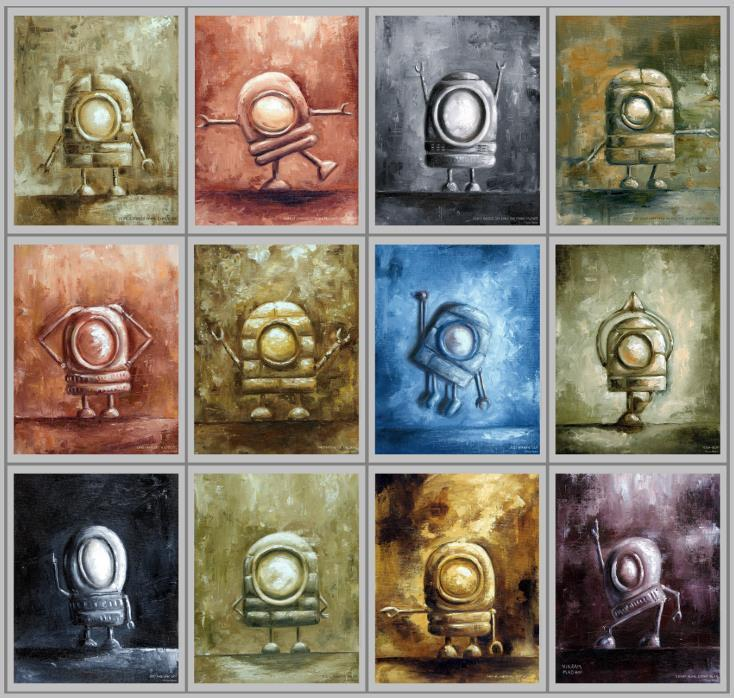 12 H 9 W R u s t y R o b o t S e r i e s A series of atmospheric and tetural Robot Paintings. Each piece is 12 h 9 wide, Oil on Canvas, Unframed. Provided in an archival bag.