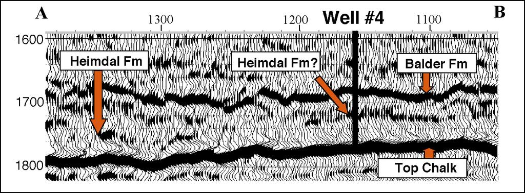 wavelet representing Top Chalk, which is the most prominent seismic reflector in the area. It shows a very strong positive reflectivity.