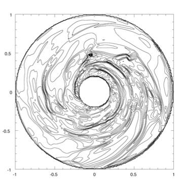 Gravitational Instability Density contours for a 0.09 M! disk around a 1 M! star. A multi-jupiter mass clump forms by 374 yr.