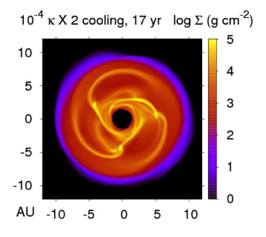 Possiblities include: #The formation of a massive disk from protostellar core collapse #Clumpy infall onto a disk #Cooling of a disk from stable to