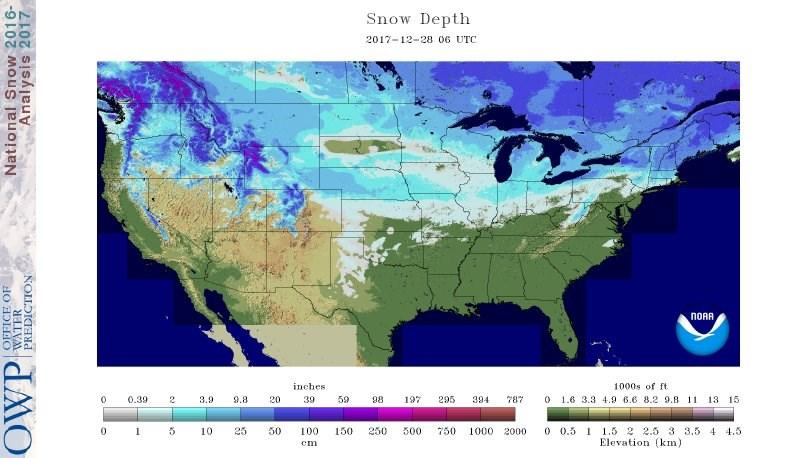 Snow Depth Today at 12 AM Central Time