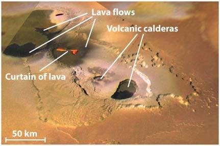 can shoot gas and particles up to 300 km (190 miles) above the surface Some of the eruptions are powered by sulfur