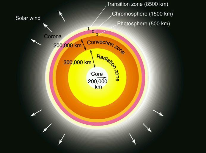The Interior Structure of the Sun (not to scale) How does energy get from core to surface? core photon path Let's focus on the core, where the Sun's energy is generated.