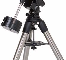 This side of the tripod will face north when setting up for an astronomical observing session. To attach the equatorial head: Equatorial Mount 1.