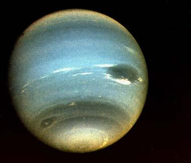 Uranus is the next planet we come to. Its name is pronounced either YOOR-uh-nus or yuh-ray-nus. Uranus is a blue-green planet. It gets its color from a gas called methane.