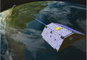 The distance between the satellites is continuously monitored with micrometer accuracy using onboard microwave telemetry
