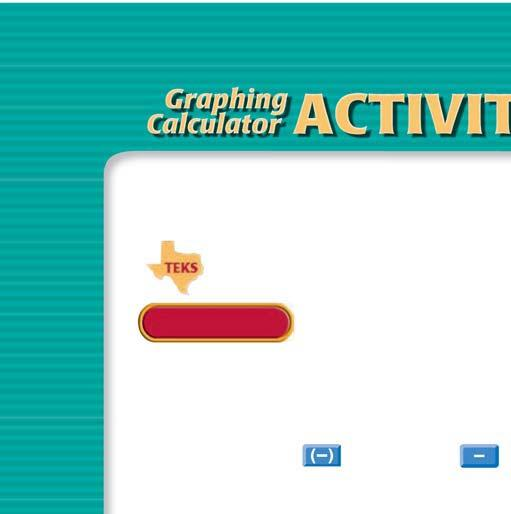 Graphing Calculator ACTIVITY Use after Lesson 1.2 1.2 Evaluate Expressions TEKS a.2, a.5, a.6, 2A.2.A TEXAS classzone.