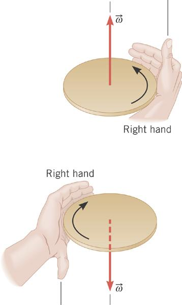 The Vector Nature of Angular Variables Right-Hand Rule: Grasp the axis of rotation with your right hand, so that your fingers circle the axis in the same sense as the rotation.