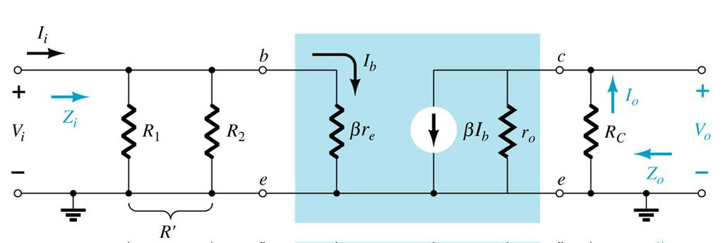 Equivalent Circuit: The re model is very similar to the fixed bias circuit except for R B is R 1 R 2 in the case of voltage divider bias. Expression for A V remains the same.