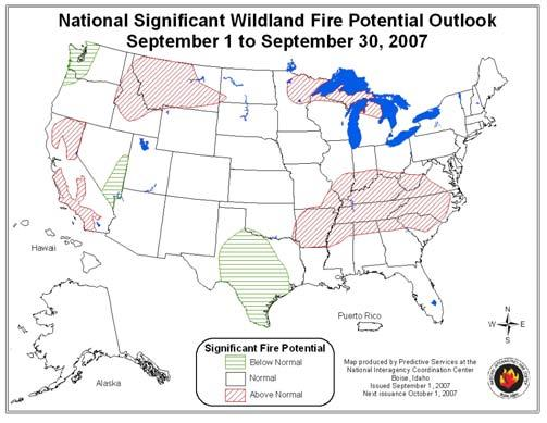 National Wildland Significant Fire Potential Outlook National Interagency Fire Center Predictive Services Issued: September, 2007 Wildland Fire Outlook September through December 2007 Significant
