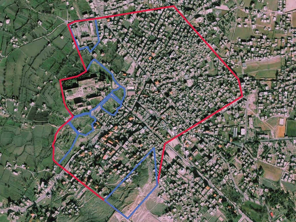 Web-based Spatial Data Management 235 Fig. 1. Aerial image of Baalbek with extent of the urban research area marked in red and excavation areas marked in blue.