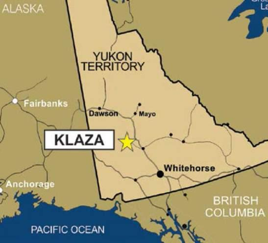 FOCUS ON FLAGSHIP KLAZA PROJECT 100% owned by Rockhaven with no underlying royalties on resource areas Road accessible with a community and an electrical power grid located nearby 1.