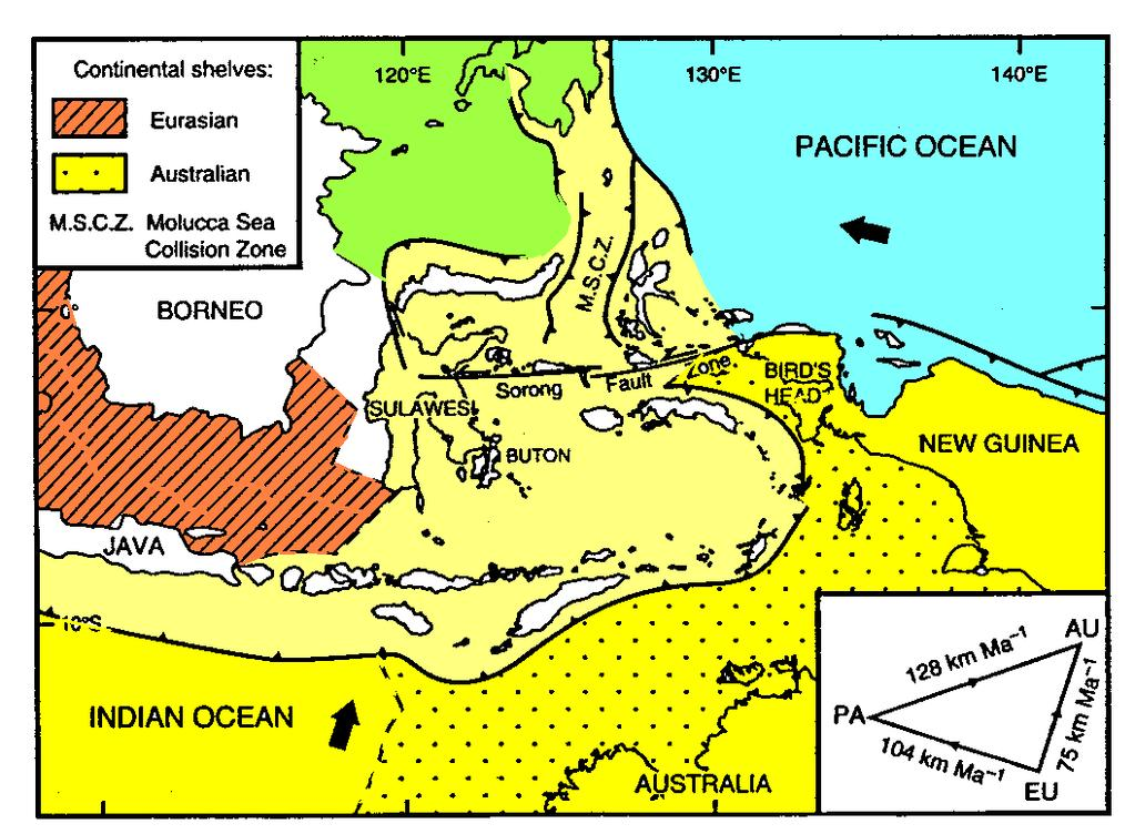 REGIONAL TECTONIC SETTING Present-day plate tectonic setting of Eastern Indonesia (Hall, 2004) Eastern Indonesia: Interaction of two major plates;