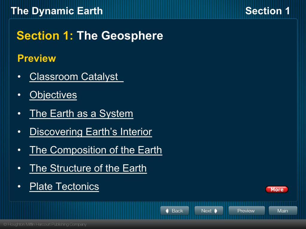 Section 1: The Geosphere Preview Classroom Catalyst Objectives The Earth as a System
