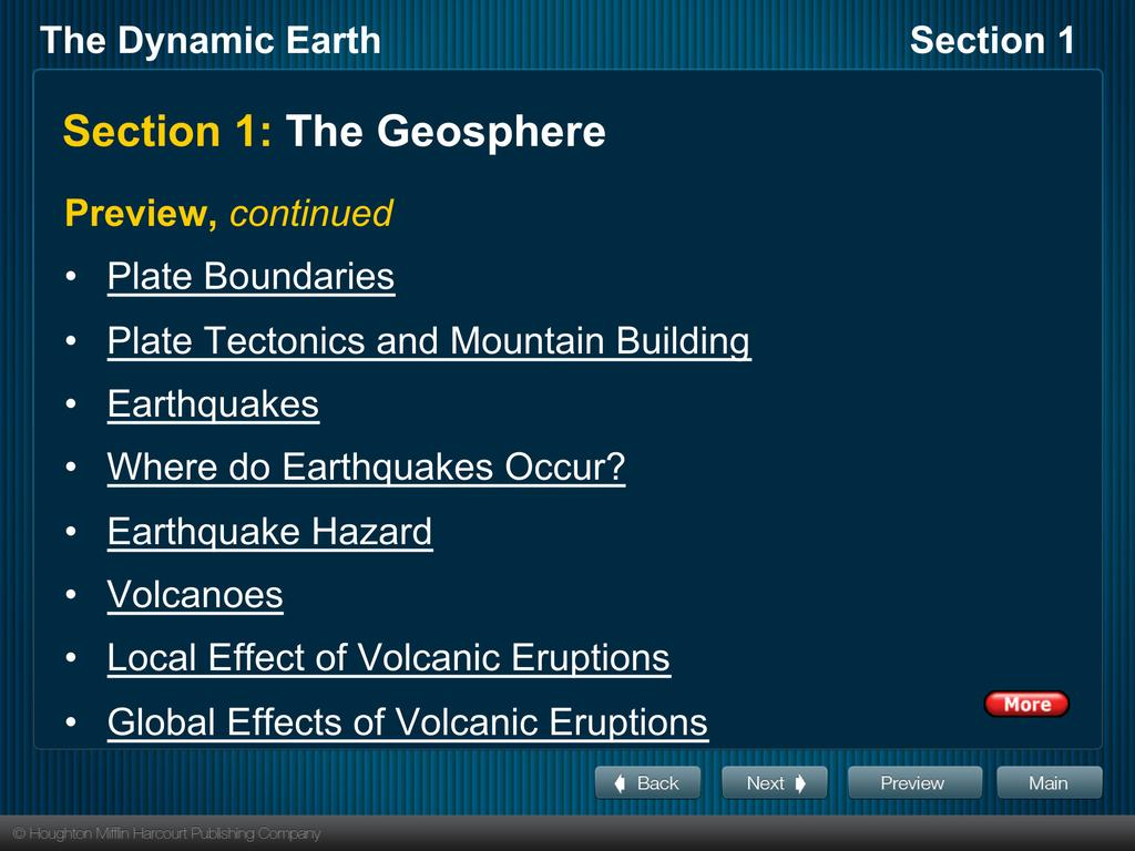 Section 1: The Geosphere Preview, continued Plate Boundaries Plate Tectonics and Mountain Building Earthquakes Where