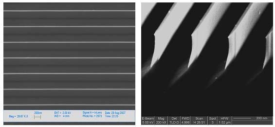 (a) (b) Fig. 1. SEM images of the parallel silicon nanolines, with 24 nm line width and 380 nm height. The line pitch is 390 nm. (a) Plan view; the bright lines are SiNLs.
