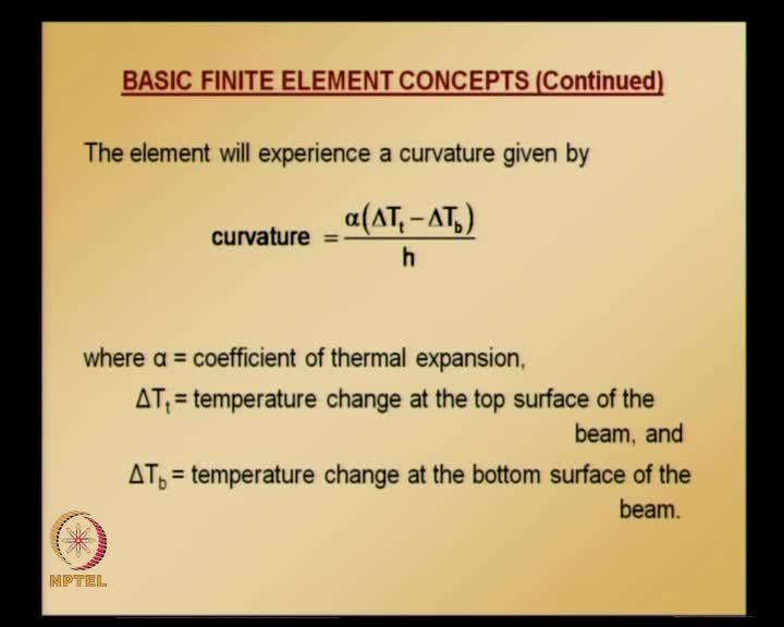In this kind of situation, the element will experience curvature, because there is a temperature change between bottom surface and top surface.