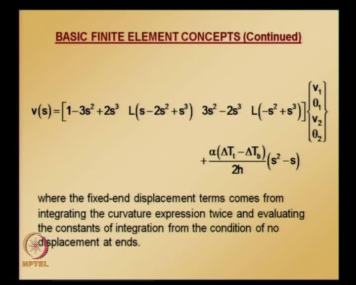 (Refer Slide Time: 49:42) Displacement at any point in element is given by the first part is nothing but the interpolation of nodal values and the second part is the correction coming from fixed-end