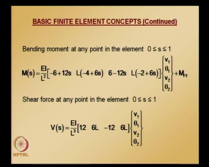(Refer Slide Time: 51:15) Bending moment at any point in the element; as usual, solution obtained by finite element by interpolating, using finite element shape functions to that, fixed-end moment